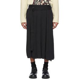 Yohji Yamamoto Black Wrapped Skirt Trousers HN-K80-374