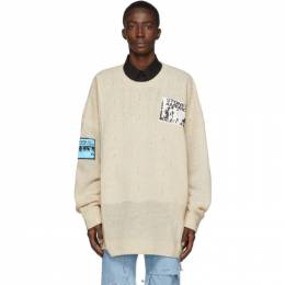 Raf Simons Beige Oversized Patch Sweater 201-834