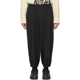 Yohji Yamamoto Black Wool Tab Gather Trousers HN-P32-100