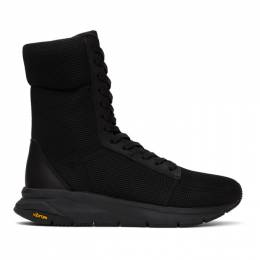 Yohji Yamamoto Black Mesh Lace-up Sneakers HN-E09-662