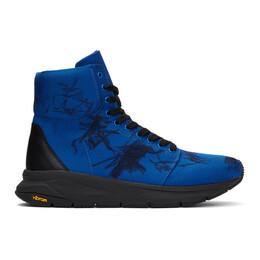 Yohji Yamamoto Blue Graphic High-Top Sneakers HN-E11-663