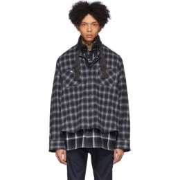 Sacai Black and Grey Ombre Check Shirt 20-02237M