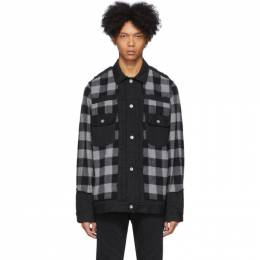 Sacai Black and Grey Panelled Denim Jacket 20-02265M