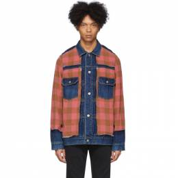 Sacai Blue and Red Panelled Denim Jacket 20-02265M
