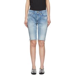 Saint Laurent Blue Denim Washed Bermuda Shorts 621961 Y894R
