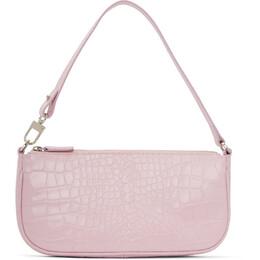 By Far Pink Croc Rachel Baguette Bag 20CRRCLSPIDMED