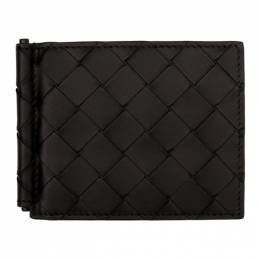 Bottega Veneta Black Intrecciato Money Clip Wallet 592626 VCPQ4