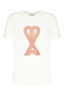 Белая футболка с принтом Ami 1376189906