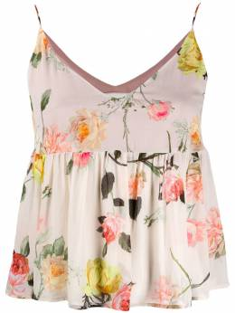Semicouture flared floral-print top S0SS03