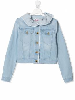 Il Gufo TEEN ruffle-neck denim jacket P20GR146J0030