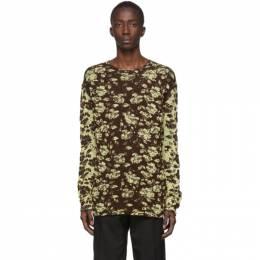 Jil Sander Brown Jacquard Open Crewneck Sweater JSMQ752010_MQY21148