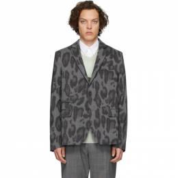 Stella McCartney Black and Grey Wool Bobby Check Blazer 582434SOO08