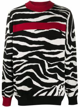 Sacai zebra patterned colour block jumper 2002261M