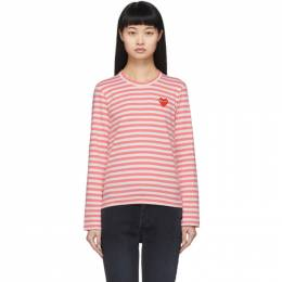 Comme Des Garcons Play Pink and White Striped Heart Patch Long Sleeve T-Shirt P1T277