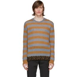 Dries Van Noten Grey and Orange Striped Sweater 21297-9704-802