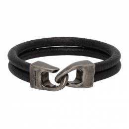Saint Laurent Black Leather Bracelet 6073110UZ0D