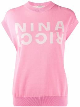 Nina Ricci трикотажный топ с логотипом и укороченными рукавами-кап 20EMPU054ML0457U2644