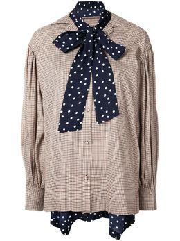 Maison Mihara Yasuhiro блузка в клетку с бантом B04SH181