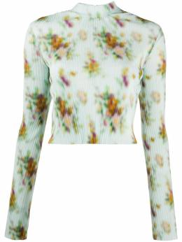 Frankie Morello floral printed ribbed top FWS0684BL7010