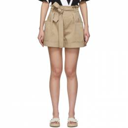 Red Valentino Tan Gathered Waist Shorts TR0RFD104YN