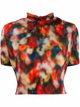 Frankie Morello blurry floral-print top FWS0683BL7009