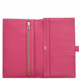 Hermes Rose Tyrien Ostrich Leather Gusset Wallet 275435