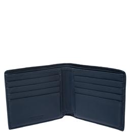 Bottega Veneta Blue Intrecciato Leather and Crocodile Bifold Wallet