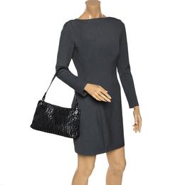 Aigner Monogram Metallic Black Signature Fabric Shoulder Bag 274617
