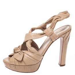 Prada Beige Pleated Leather Bow Detail Platform Slingback Sandals Size 37.5 274721