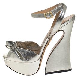 Charlotte Olympia Metallic Silver Lame Fabric Farrah Knot Platform Sandals Size 38