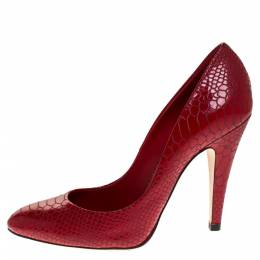 Casadei Red Python Embossed Patent Leather Round Toe Pumps Size 38.5 275395
