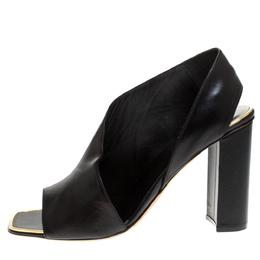 Celine Black Leather Peep Toe Sandals Size 39 275464