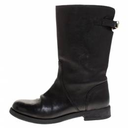 Dolce&Gabbana Black Leather Mid Calf Boots Size 37.5 275465