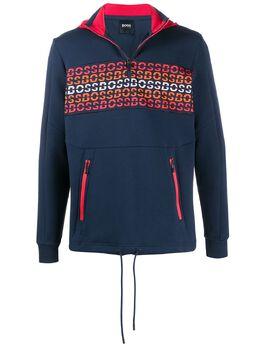 Boss by Hugo Boss embroidered logo zip sweatshirt 50424223