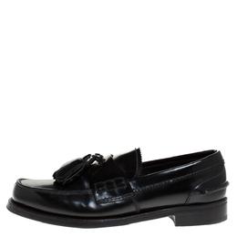 Prada Black Leather Tassel Detail Slip On Loafers Size 39.5 275478