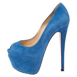 Christian Louboutin Blue Suede Daffodile Peep Toe Platform Pumps Size 35.5 275075