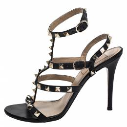 Valentino Black Leather Rockstud Strappy Sandals Size 37.5