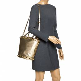 Prada Metallic Gold Saffiano Vernice Studded Bucket Bag 274712