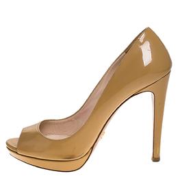 Prada Beige Patent Leather Peep Toe Platform Pumps Size 38.5 274719