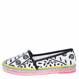Sophia Webster White/Black Juana Kapowski Printed Canvas Espadrille Flats Size 39