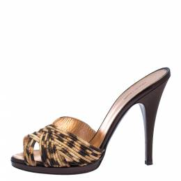 Roberto Cavalli Leopard Print Satin Open Toe Platform Sandals Size 40 275047