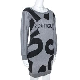 Moschino Boutique Grey Boutique Print Cotton Jumper Dress S 274654