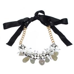 Marni Crystal Bead Embellished Black Ribbon Statement Tie-up Necklace 274659