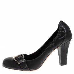 Dior Black Leather Buckle Scrunch Pumps Size 40 274933