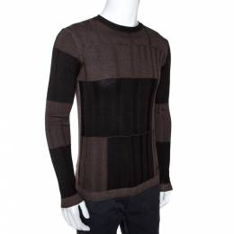 Armani Collezioni Black & Brown Wool Washed Out Effect Sweater M 275055