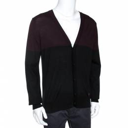 Emporio Armani Bicolor Wool Colorblock Cardigan L 275053