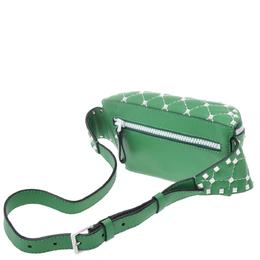 Valentino Garavani Green/White Leather Rockstud Spike Belt Bag 275450