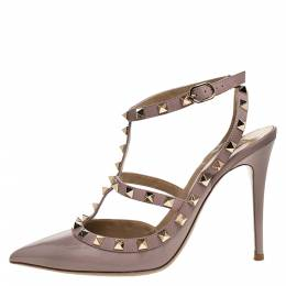 Valentino Beige Patent Leather And Leather Rockstud Ankle Strap Sandals Size 39