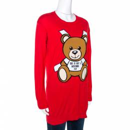 Moschino Couture Red Teddy Bear Jacquard Knit Jumper XXS 274648