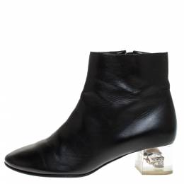 Alexander McQueen Black Leather Skull Ankle Boots Size 36 275104